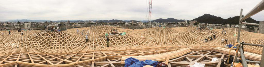 ぎふメディアコスモス屋根工事の様子